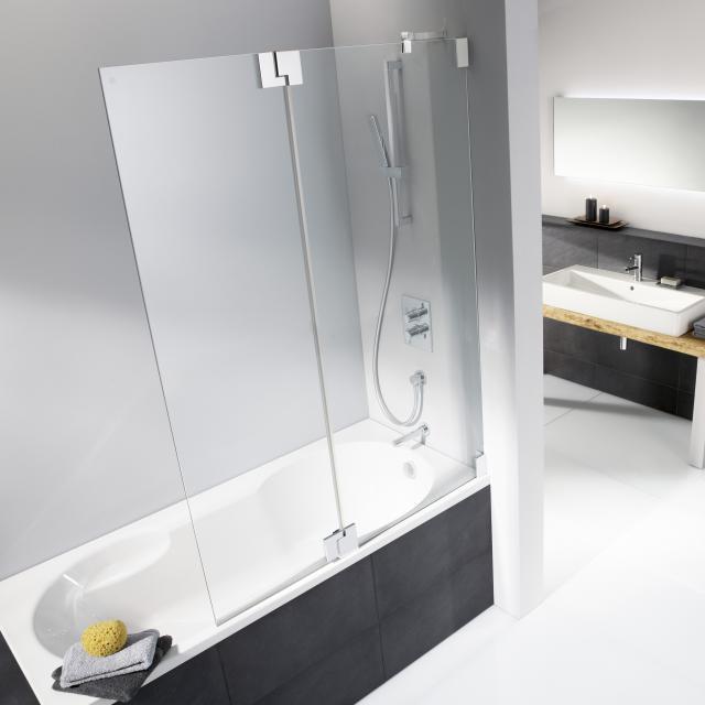 HSK K2 Badewannenaufsatz Pendeltür mit Festfeld ESG klar hell / chrom optik