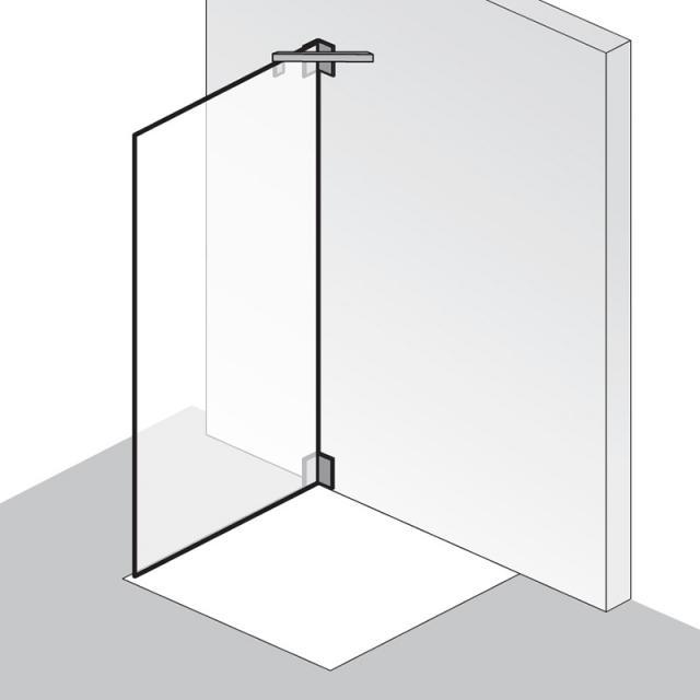HSK K2 Seitenwand für Dreh-und Pendeltür ESG klar hell / chrom optik