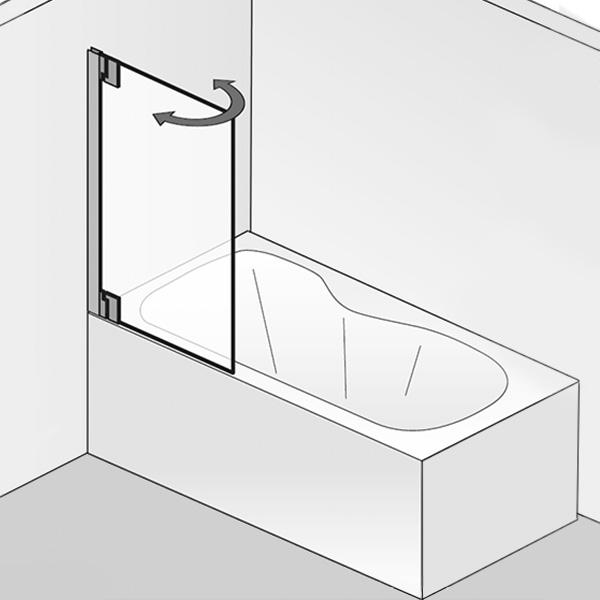 HSK K2P Badewannenaufsatz Pendeltür ESG klar hell / chrom optik