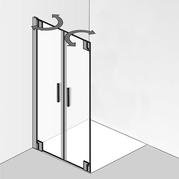 HSK K2P Pendeltür für Seitenwand ESG klar hell / chrom optik