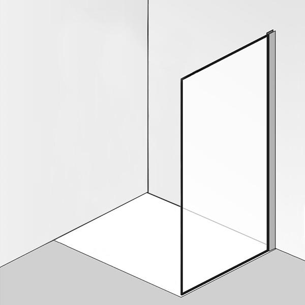 HSK K2P Seitenwand für Drehtür mit Festfeld ESG klar hell / chrom optik