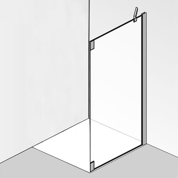 HSK K2P Seitenwand für Pendeltür ESG klar hell / chrom optik