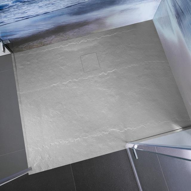 HSK Marmor-Polymer Rechteck-Duschwanne in Steinoptik, super-flach steingrau