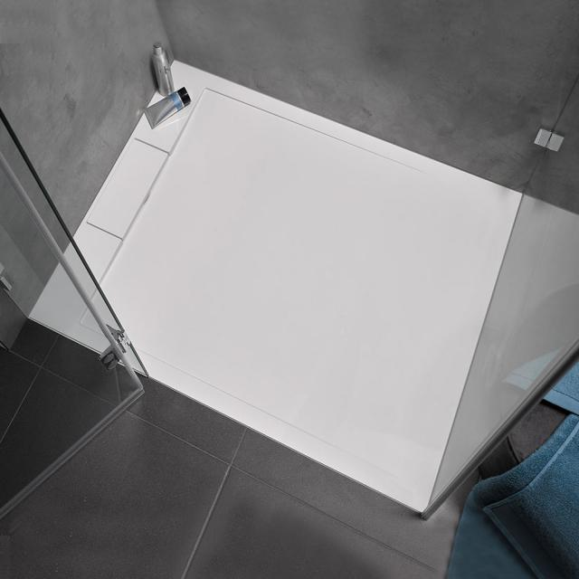 HSK Marmor-Polymer Rechteck-Duschwanne mit Randablauf weiß