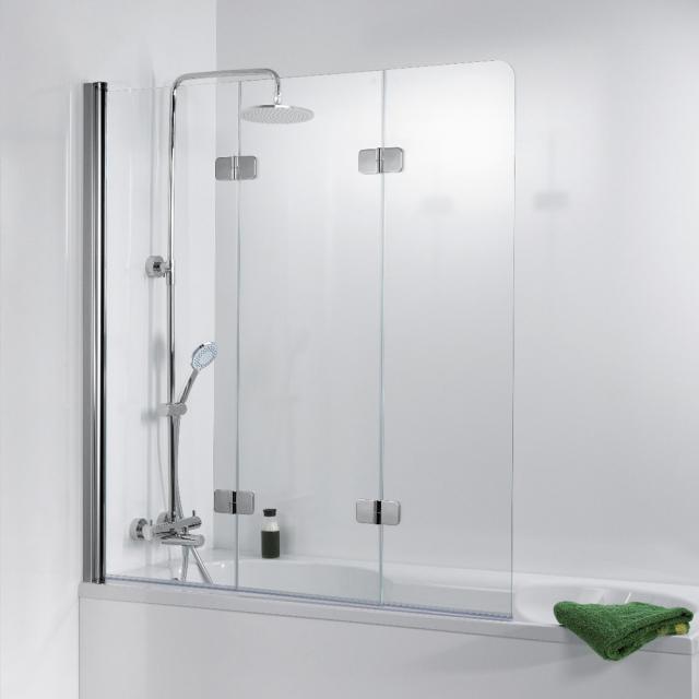 HSK Premium Softcube Badewannenaufsatz Drehfalttür 3-teilig ESG klar hell mit Edelglas / chrom optik