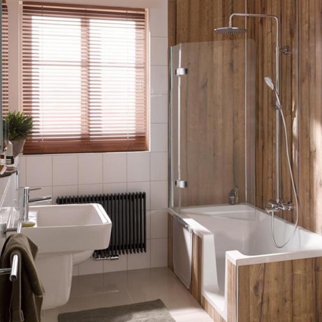 HSK Premium Softcube Badewannenaufsatz Pendeltür mit Festfeld ESG klar hell mit Edelglas / chrom optik