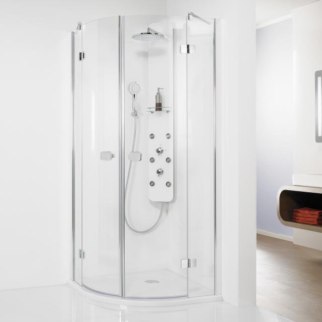 HSK Premium Softcube Viertelkreis Drehtür 4-teilig ESG klar hell mit Edelglas / chrom optik