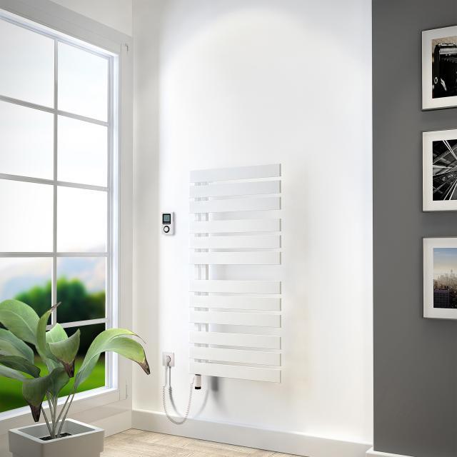 HSK Yenga Badheizkörper mit Heizstab 4 für rein elektrischen Betrieb weiß, 600 W, Heizstab weiß, Ausführung rechts