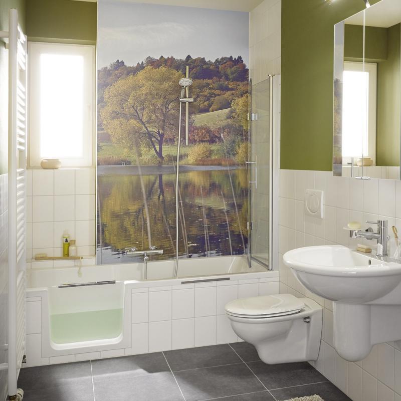 Hsk dobla badewanne mit duschzone einstieg links 540170 for Badewannen mit duschzone