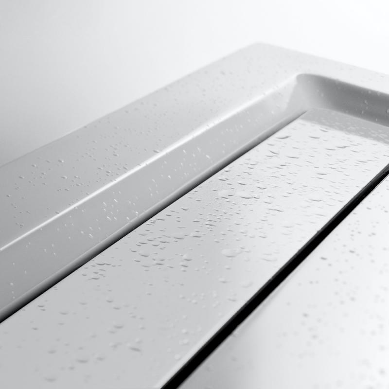 hsk rechteck duschwanne mit integrierter ablaufrinne super flach wei rinnenabdeckung wei. Black Bedroom Furniture Sets. Home Design Ideas