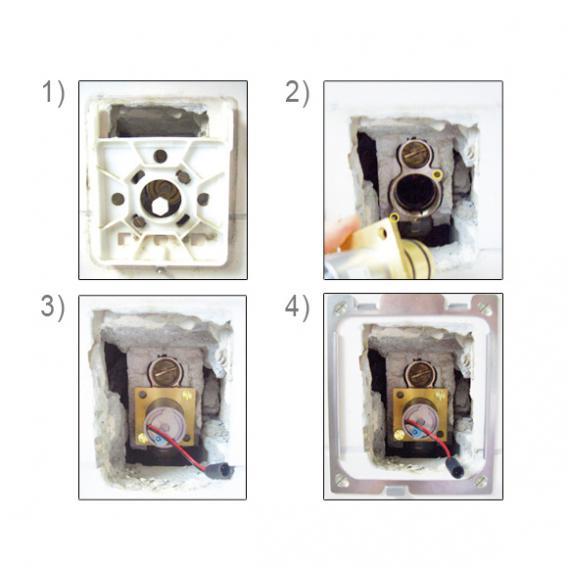 Conti+ lino U55 Urinalarmatur mit IR-Sensor, Umrüstset für UP-Druckspüler, Batteriebetrieb