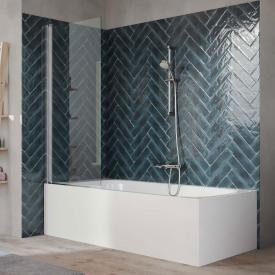HÜPPE 501 Design pure Badewannenabtrennung 1-teilig ESG klar mit ANTI-PLAQUE / silber hochglanz