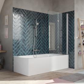 HÜPPE 501 Design pure Badewannenabtrennung Schwingfalttür ESG klar mit ANTI-PLAQUE / chrom