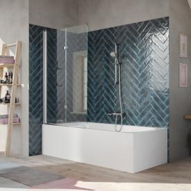 HÜPPE 501 Design pure Badewannenabtrennung Schwingfalttür ESG klar mit ANTI-PLAQUE / silber hochglanz