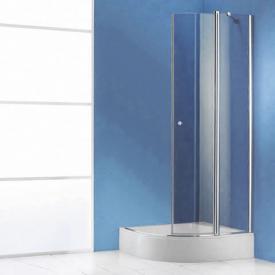 Hüppe 501 Design pure Schwingtür mit festen Segmenten 2-flügelig, Halbteil ESG klar / silber matt Radius R500