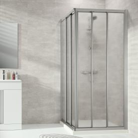 HÜPPE Alpha 2 gerahmte Gleittüreckeinstieg 3-teilig Kunstglas pacific S klar / silber matt