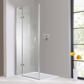 Hüppe Aura elegance 4-Eck Schwingtür mit festem Segment für Seitenwand/Eckeinstieg ESG klar mit ANTI-PLAQUE / chrom