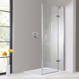 Hüppe Aura elegance 4-Eck Schwingtür mit festem Segment für Seitenwand/Eckeinstieg ESG klar / silber matt