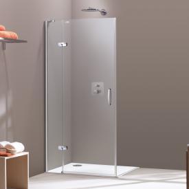 HÜPPE Aura elegance Schwingtür mit festem Segment für Seitenwand/Eckeinstieg ESG klar / silber hochglanz
