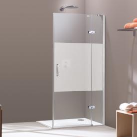 HÜPPE Aura elegance Schwingtür mit festem Segment und Seitenwand SONDERMAß ESG privatima mit ANTI-PLAQUE / silber matt