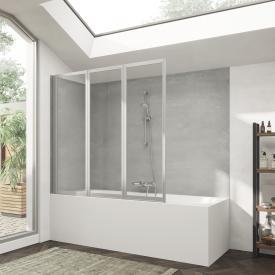 HÜPPE Combinett 2 Badewannenabtrennung 3-teilig ESG klar mit ANTI-PLAQUE / silber matt