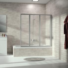 Hüppe Combinett 2 Badewannenabtrennung 3-teilig Kunstglas pacific S klar / silber matt