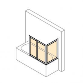 HÜPPE Combinett 2 Badewannenabtrennung mit breitem 1. Segment ESG klar mit ANTI-PLAQUE / silber matt