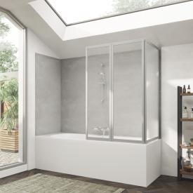 HÜPPE Combinett 2 Badewannenabtrennung mit breitem 1. Segment Kunstglas pacific S klar / silber matt