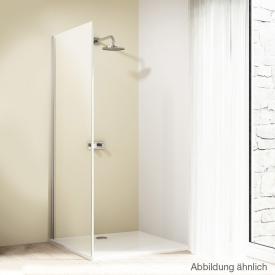 Hüppe Design elegance 4-Eck Seitenwand für Gleittür 2-teilig mit festen Segmenten/Gleittür mit festem Segment und Nebenteil ESG klar / silber matt