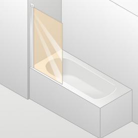 HÜPPE Design elegance Badewannenabtrennung 1-teilig ESG klar mit ANTI-PLAQUE / silber matt