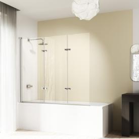 HÜPPE Design elegance Badewannenabtrennung Schwingfalttür 3-teilig ESG klar mit ANTI-PLAQUE / silber hochglanz