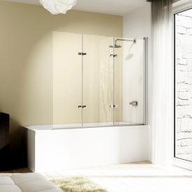 HÜPPE Design elegance Badewannenabtrennung Schwingfalttür 3-teilig ESG klar mit ANTI-PLAQUE / chrom