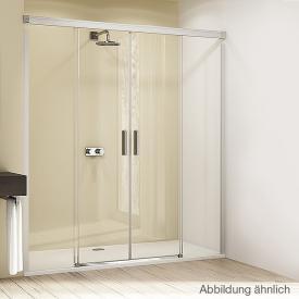 Hüppe Design elegance 4-Eck Gleittür 2-teilig mit festen Segmenten ESG privatima ANTI-PLAQUE / silber matt