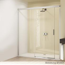 Hüppe Design elegance 4-Eck Gleittür mit festem Segment und Nebenteil ESG klar / silber matt