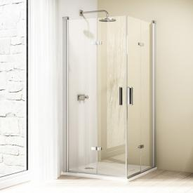Hüppe Design elegance 4-Eck Schwingfalttür ESG klar / silber matt