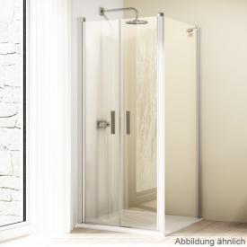 Hüppe Design elegance 4-Eck Seitenwand für Pendeltür ESG klar mit ANTI-PLAQUE / silber matt