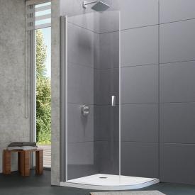 Hüppe Design pure 1/4 Kreis Schwingtür 2-flügelig ESG klar mit ANTI-PLAQUE / silber matt