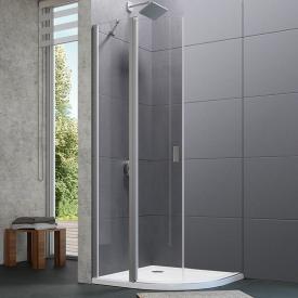 Hüppe Design pure 1/4 Kreis Schwingtür mit festen Segmenten 2-flügelig ESG klar / silber matt
