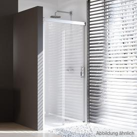 Hüppe Design pure 4-Eck Gleittür 1-teilig mit festem Segment ESG klar / silber matt