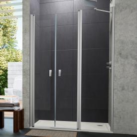Hüppe Design pure 4-Eck Pendeltür mit Nebenteil in Nische ESG klar / silber matt