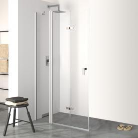 Hüppe Design pure 4-Eck Schwingfalttür mit festem Segment ESG klar mit ANTI-PLAQUE / silber matt