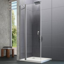 Hüppe Design pure 4-Eck Schwingtür mit festen Segmenten ESG klar / silber matt