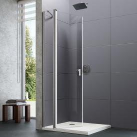 Hüppe Design pure 4-Eck Schwingtür mit festen Segmenten mit Innen-/Außenöffnung für Kombination mit Seitenwand ESG klar / silber matt
