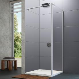 Hüppe Design pure 4-Eck Seitenwand für Pendeltür ESG klar / silber matt