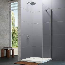 Hüppe Design pure 4-Eck Seitenwand für Schwingtür ESG klar / silber matt