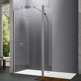 Hüppe Design pure 4-Eck Walk-In Seitenwand mit beweglichem Segement ESG klar / silber matt