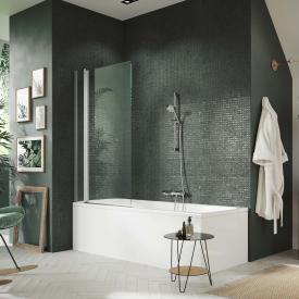 HÜPPE Design pure Badewannenabtrennung 1-teilig mit festem Segment ESG klar mit ANTI-PLAQUE / silber matt