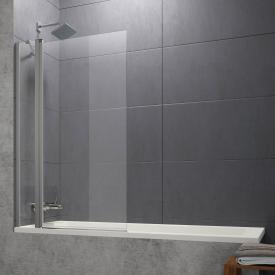 Hüppe Design pure Badewannenabtrennung 1teilig mit festem Segment ESG klar ohne ANTI-PLAQUE / silber matt