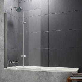 Hüppe Design pure Badewannenabtrennung Schwingfalttür ESG klar ohne ANTI-PLAQUE / silber matt