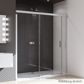 HÜPPE Design pure Gleittür mit festem Segment und Nebenteil ESG klar / silber matt